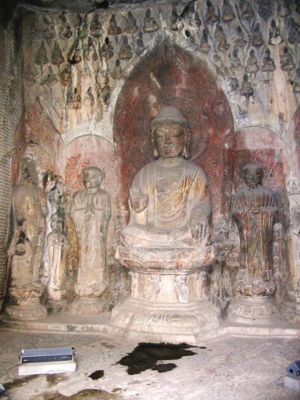 the central Buddha in the cave
