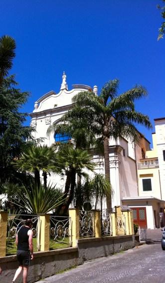 Palms on an azure sky.