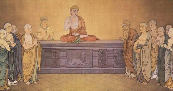 Buddha gives Lotus to Mahakashyapa