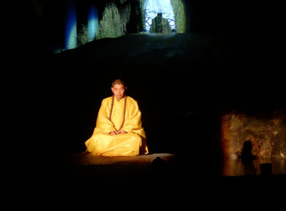 one of five meditating monks