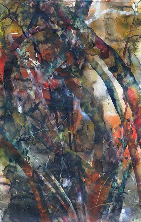 Brown Trees, 62 x 150 cm, Watercolour