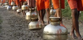 Millions of Hindu devotees walking across India