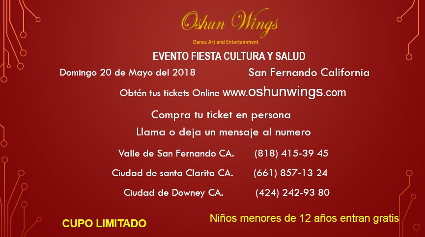 tickets info Party Culture and health event may 20th 2018 Oshun Wings Dance art and entertainment by maritza rosales