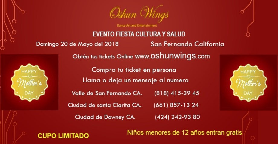 happy mothers day event may 20th 2018 Oshun Wings Dance art and entertainment by maritza rosales