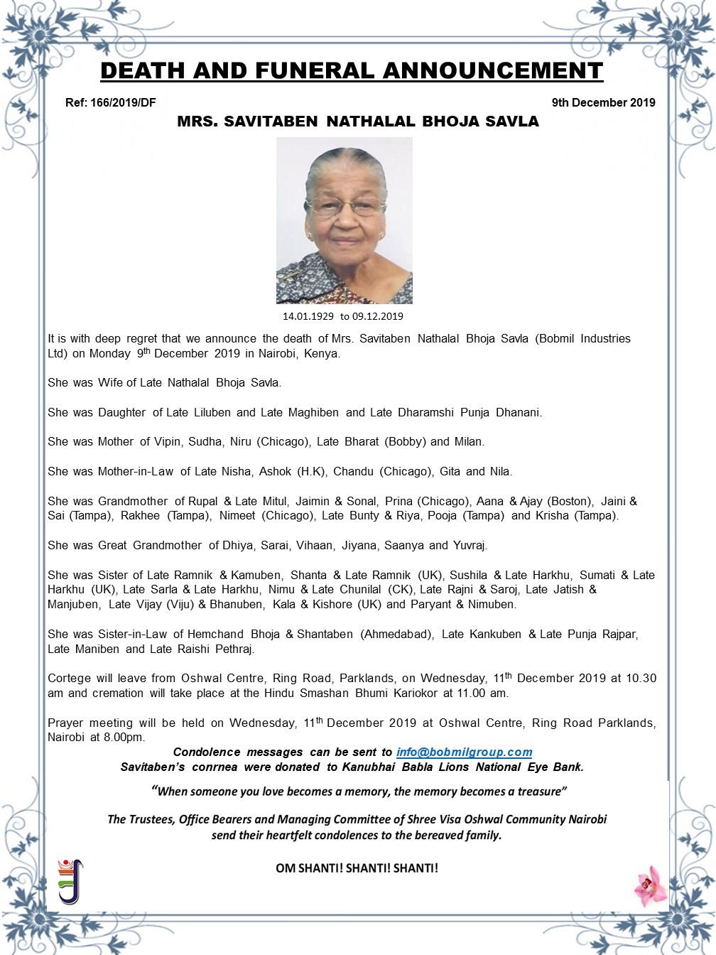 Savitaben Nathalal Bhoja Savla obituary