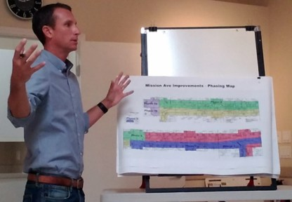 Nathan Mertz, with City of Oceanside, spoke to people attending the 'Main Street Oceanside' monthly morning meeting to explain the impact on downtown businesses.