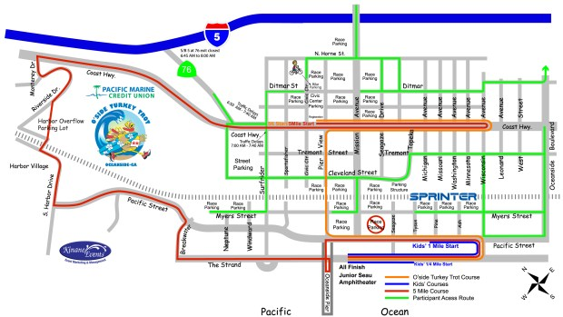 Turkey Trot Parking and event routes