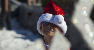 Moses Salvador, 6, in the holiday spirit.