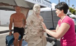 Orbry Chambleu models for Sculptor Lynn Forbes at the Oceanside Days of Art, on Saturday