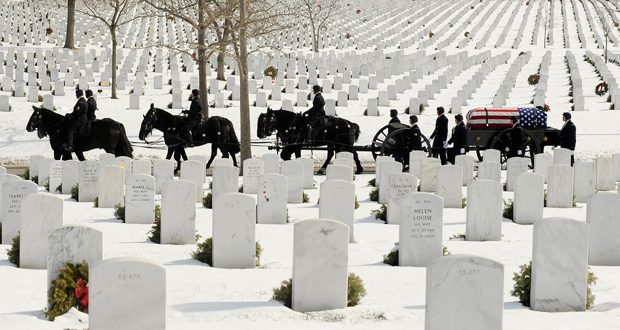A caisson team from the Old Guard carries the remains of Army Sgt. Peter C. Bohler to Section 60 at Arlington National Cemetery on Jan. 23. Bohler died in a helicopter crash in Afghanistan on Dec. 17, 2013 (Photo courtesy of Military Times)