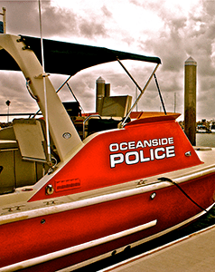 """Crystaliner"" Police Rescue Boat. This vessel is equipped with electronics such as GPS, Radar, FLIR, and other electronics to support search and rescue mission. In addition to being ally, outfitted with equipment for Marine Firefighting, EMT, Dewatering, Rescue/Assistance Towing, and SCUBA. (courtesy photo)"