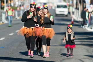 Last to cross the start line and in no real hurry were Monique Martinez, Mariah, 10, Desiree Vargas and Arianna, 3.