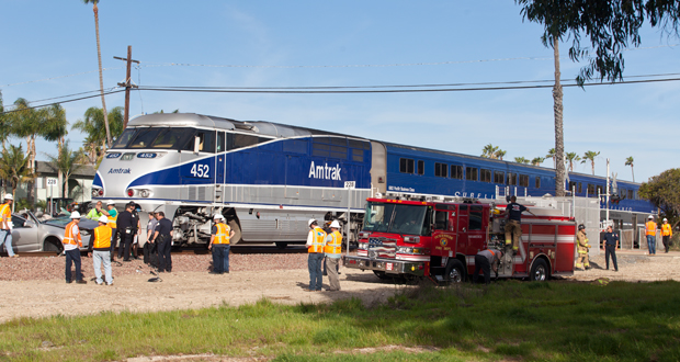 An Oceanside Fire vehicle had to be winched, by a tow truck, from the soft dirt surrounding the tracks after the incident.