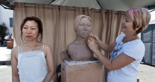 Elizabeth Man models for local master sculptor, Lynn Forbes