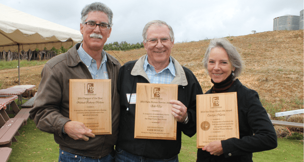 Along with Mike Mellano, Bob Vice of Fallbrook won the Farm Bureau Service Award and Carolyn Harris of Ramona received the San Diego Grown 365 Award.  Hal Clement of San Diego, (not pictured) received the Friend of Agriculture Award.