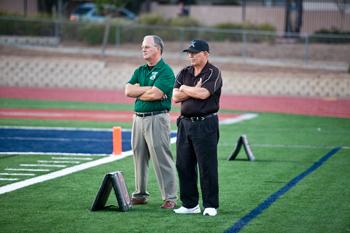 Former head coach John Carroll and OHS athletic Director Dave Barrett on the sidelines