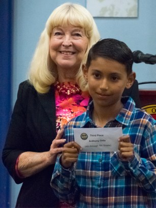 Anthony Ortiz- Third place, 4-5th grade