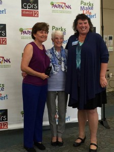 (L-R) Kathy Kinane, Race Director,  Anne Garrett, Volunteer,   Eileen Turk, Oceanside Parks & Recreation Division Manager