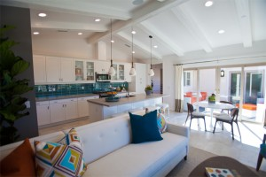 Living and kitchen area of 2 bedroom floor plan. (click on image to enlarge photo)