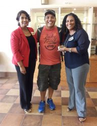 MiraCosta College student, Ricardo Duron generously donated one of the college's food pantry's biggest donations to date: $3,000 in gift cards and a box full of food. In the photo with Duron is MiraCosta Superintendent/President Dr. Sunita V. Cooke (left) and Beatriz Palmer, Food Pantry coordinator.