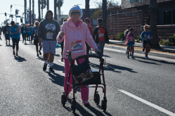 """Claire Champlin, 86 years-old, of Oceanside said she has been participating in the O'side Turkey Trot for the past five or six years siad,""""I will finish again this year"""" Which she did in 1:31:15"""