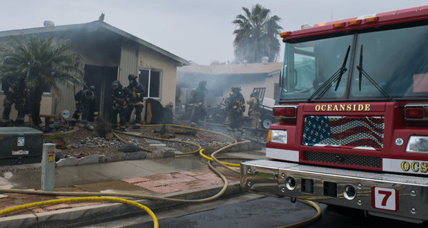 Two Homes Damaged, Seven People Displaced by Fire in Oceanside