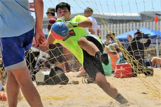 Gonzalo Marquez shuts down a shot in Virginia Beach at the North American Sand Soccer Championships.