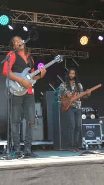 """Raging Fyah's Kumar Bent and Delroy """"Pele"""" Hamilton perform at the Ninth Annual California Roots Music and Arts Festival in Monterey, California 