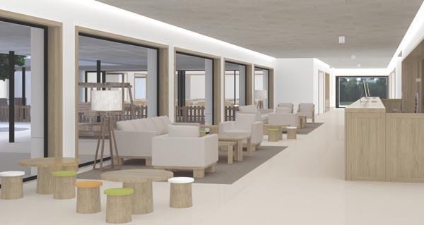 Unha maqueta das vistas interiores do futuro Centro Interxeracional.