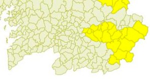 Aviso amarelo por tormentas e chuvia nas zonas de montaña ourensás
