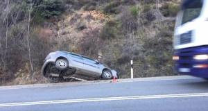 Accidente na N-120 preto dos túneles da Barosa, no límite con Rubiá