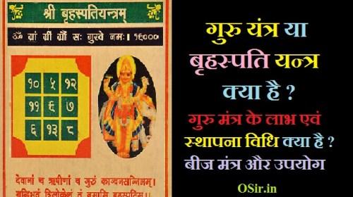 गुरु यंत्र या बृहस्पति यन्त्र क्या है ? गुरु मंत्र के लाभ एवं स्थापना विधि क्या है ? बीज मंत्र और उपयोग guru yantra benefit and mantra Hindi