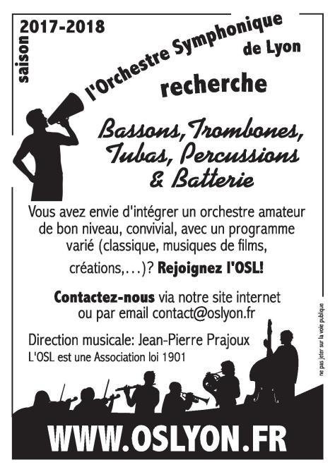 Recrutement Musicien amateur - Orchestre Symphonique Lyon