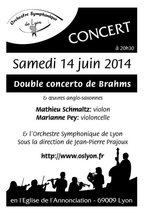Concert de l'OSL le 14/6/2014 Double concerto de BRAHMS op102