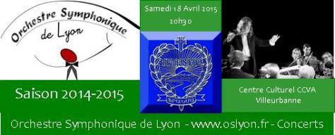 Concert de l'Orchestre Symphonique de Lyon a Villeurbanne le 18 Avril 2015