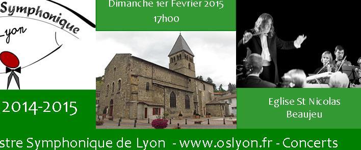 Concert de l'Orchestre Symphonique de Lyon à Beaujeu le 1/02/2015