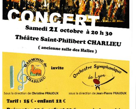 """Affiche Affiche du concert """"Symphonique à tout vent"""" à Charlieu le 21 Octobre 2017"""