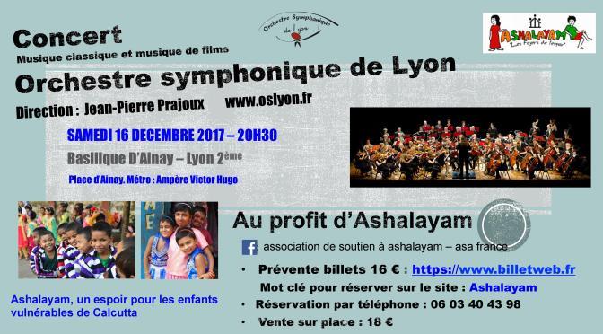Prochain concert à Lyon le 16 décembre à Ainay pour Ashalayam