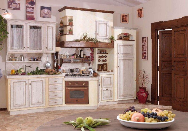 Cucina finta muratura invecchiata