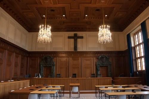 interior da sala 600, onde tiveram lugar os famosos Julgamentos de Nuremberga