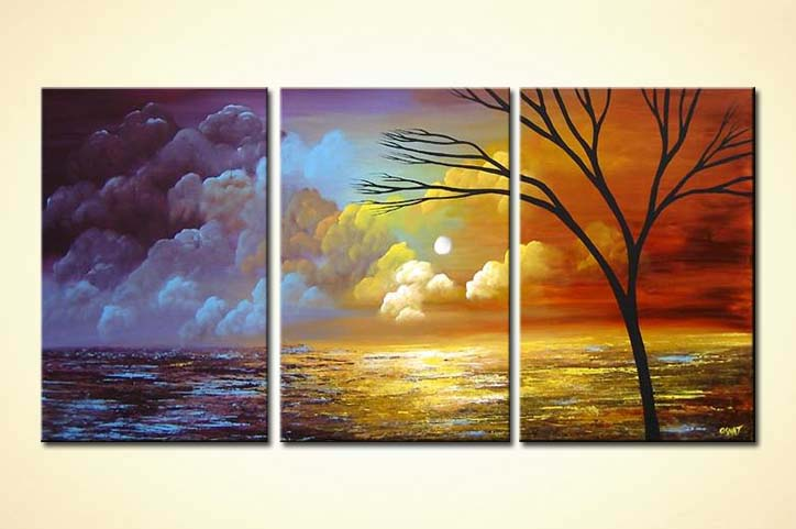 Buy triptych canvas modern landscape painting 4237
