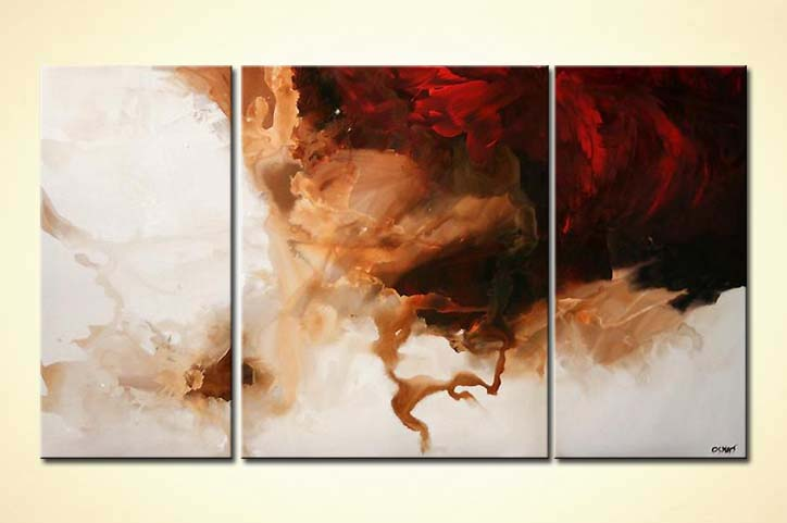Painting White And Red Modern Triptych Minimal Purity 5027