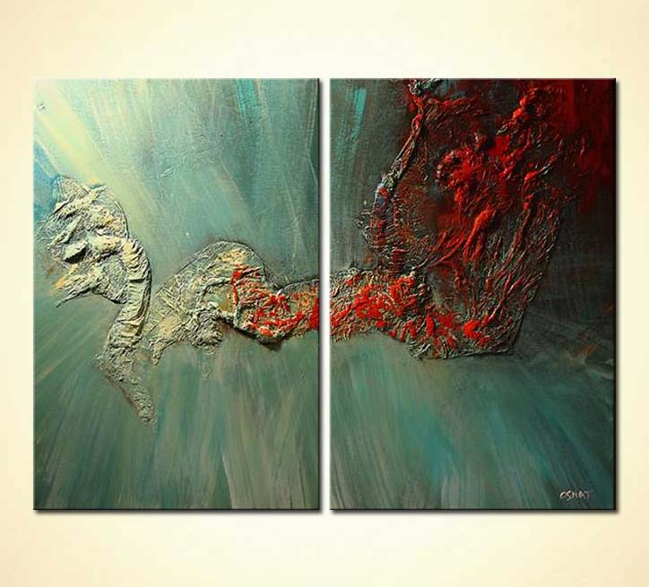 Painting for sale  textured diptych home decor blue red