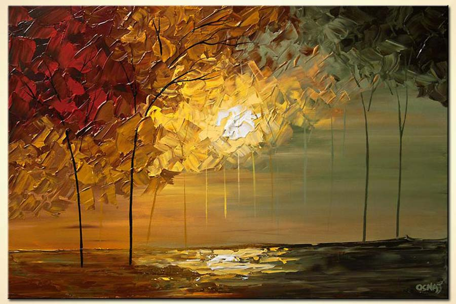 Painting for sale  blooming trees over sunrise 6020