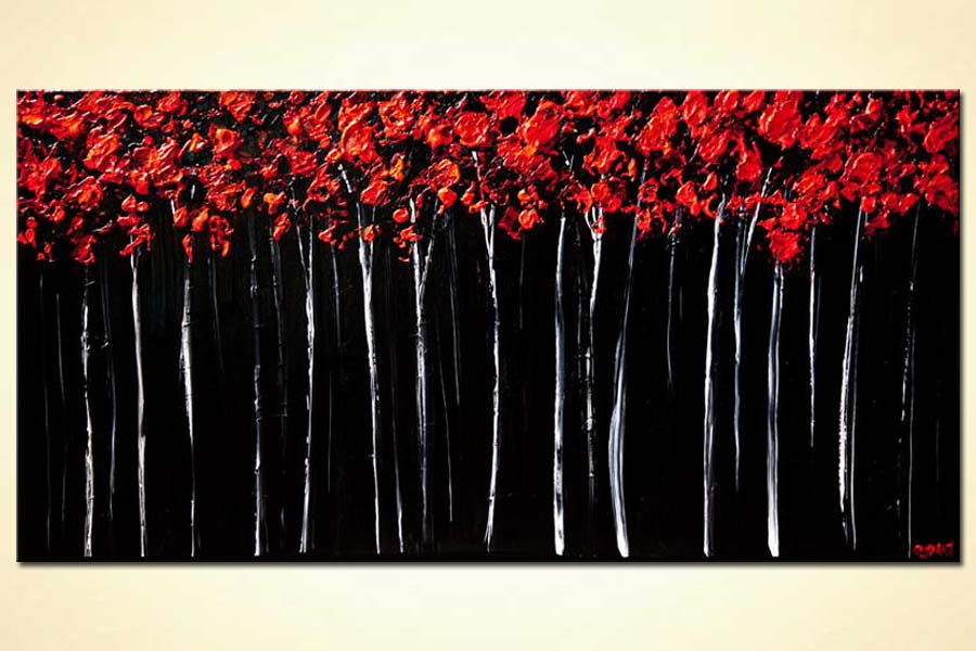 Painting  red forest landscape painting textured blooming trees painting 7468