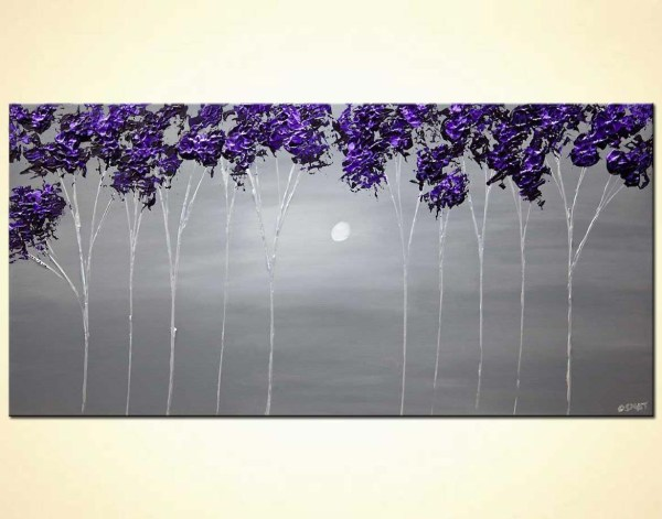 Purple Blooming Trees Painting Contemporary Abstract Landscape Art Osnat