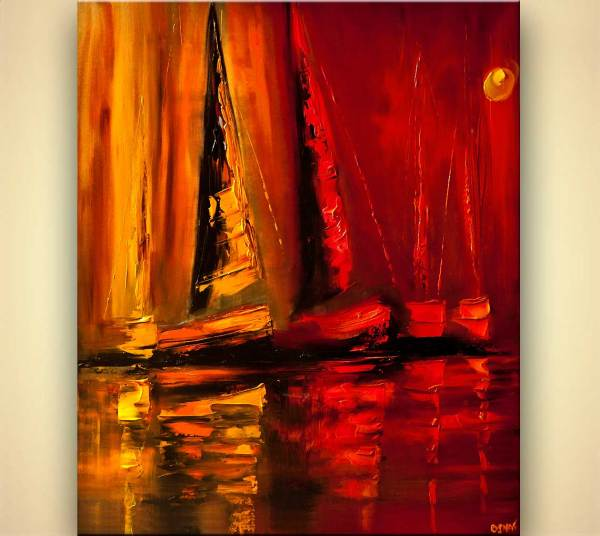 Painting - Modern Palette Knife Sailboats Home
