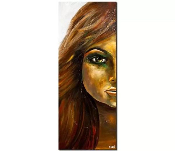 Large Modern Woman Portrait Palette Knife Painting Art Osnat 60x24