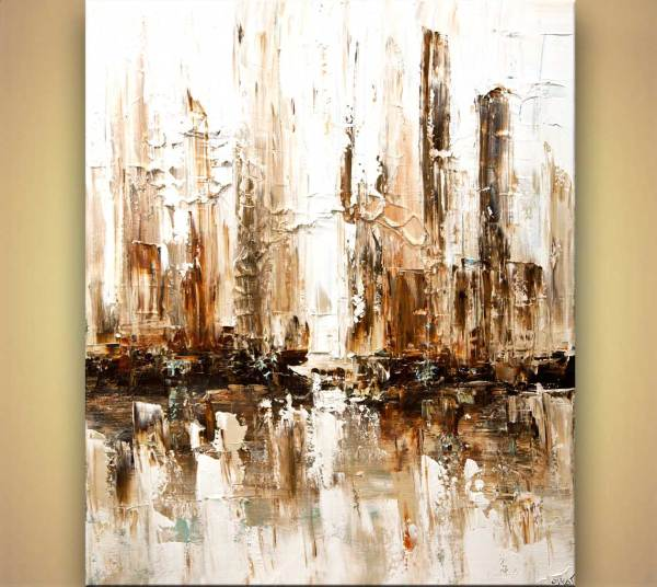 Painting - White Abstract City Home Decor #7910