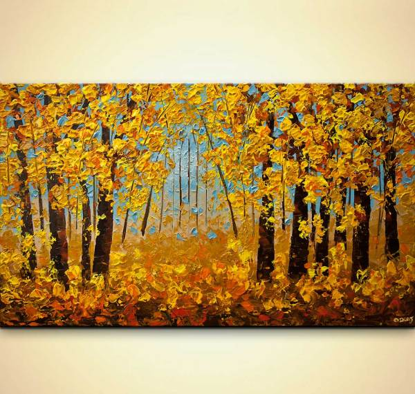Indian Summer Painting Modern Texture Landscape Trees #8125